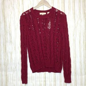 Inhabit wine open cable knit pullover sweater